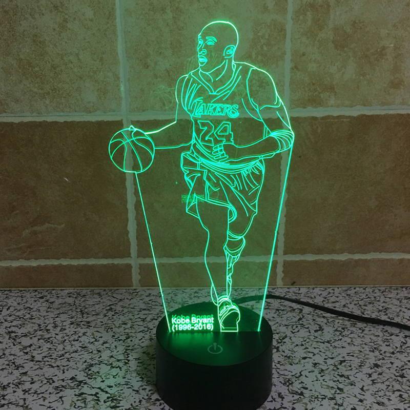 NBA Basketball Superstar Kobe Bryant 3D LED Night Light Lamp 7 Colors Changing Atmosphere Led Lamp