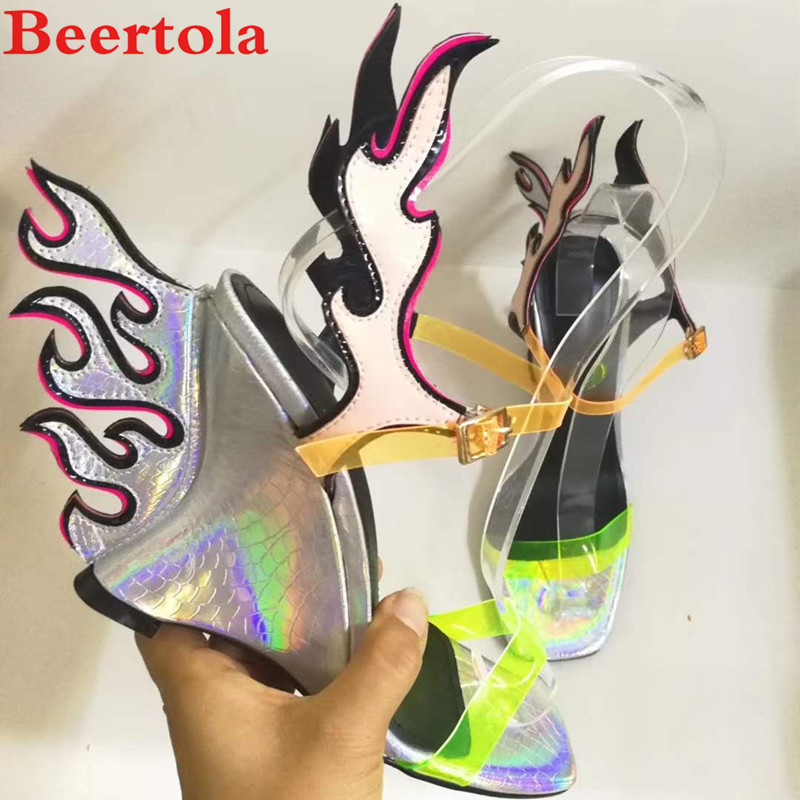 Women Shoes Snakeskin-Pattern Flame Pvc Wedges Transparent Casual Mixed-Color Reflective