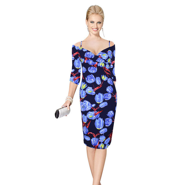 US $19.12 15% OFF|Womens Cheap Dresses Winter Elegant Blue Floral Flowers  Print Casual Party Work Knee Length Midi Dress Plus Size 2xl 201265-in ...