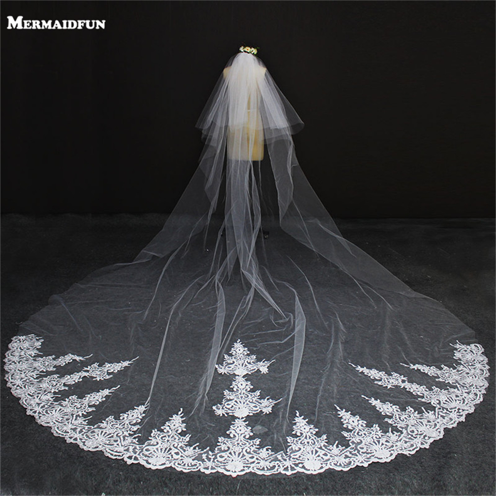 2019 New Lace Edge Two Layers Long Wedding Veil with Comb 4 Meters 2T Beautiful Bridal