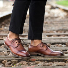 Designer Formal Oxford Shoes For Men Genuine Leather Italy Round Toe Mens Dress Shoes
