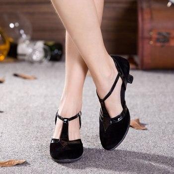 New Women Ladies Festa De Salão Latina Sapatos de Dança de Dedo Do Pé Fechado Preto Moderin Dancing Shoes Tango Salsa Saltos de Desempenho