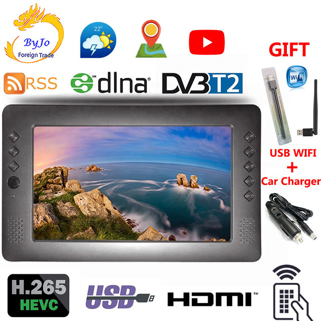 LEADSTAR 996 9 zoll H.265 Tragbare TV DVB-T2 Digital analog Signal fernsehen 1024*600 RSS-DLNA Auto TV USB WIFI Auto Ladegerät geschenk