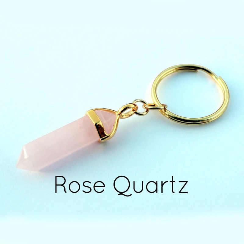 1 sztuk Natural Bullet kwarc brelok ametysty kwarc różany wisiorek breloki kryształowe breloczki moda prezent