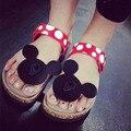 Rato Sapatos de verão Mulher Sandálias Mujer Bonito Dot Flip Flops Chinelos de Cortiça mulheres Das Meninas Das Senhoras Sandálias Flat Praia Sapatos Mais tamanho