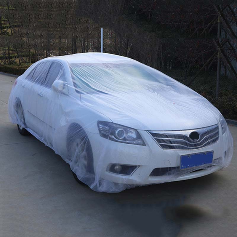 Clear Plastic Temporary Disposable Universal SUV Car Cover Rain Dust Snow Garage Universal SUV Snow Garage(China)