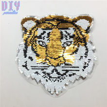 Tiger Reversible Sequins Sew On Patches for clothes Kids Boy Girl T Shirt Coat Embroidered Reverse Patch Applique()