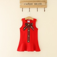 100% Cotton Europe and America Style Girls Dress Bow Sleeveless Casual Dress Vest Dress Baby Summer Clothing Comfortable