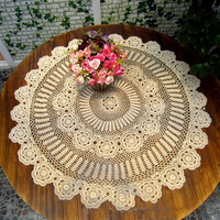 Cotton Handmade Crochet Lace Round Tablecloth White/Beige Table Overlay Decoration Home Coffee Wedding Party Doily