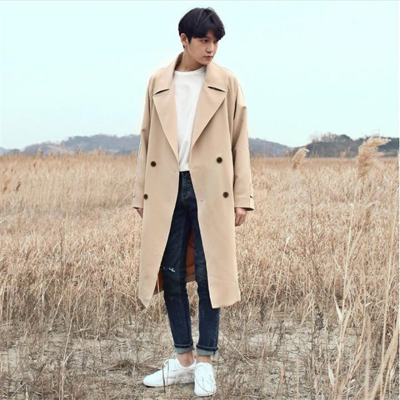 2018 New Male Trench Coat Korean Style Long Trench Coat Men Casual Baggy Double Breasted Jackets Plus Size S-3XL A5594 korean new style fur collar double breasted casual coat for men