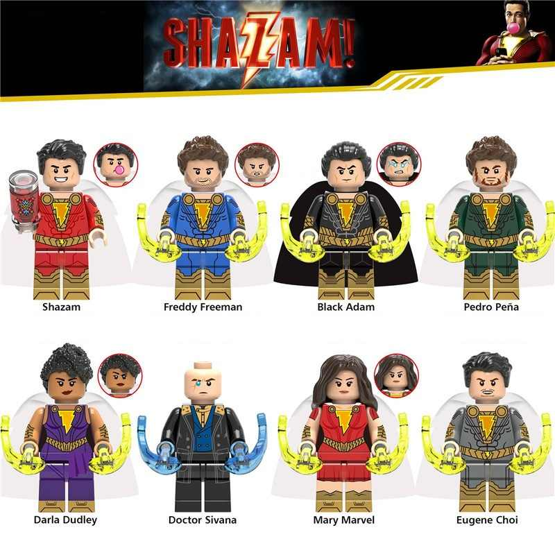 Legoing Super Heroes Shazan Black Adam Magical Mary Model Building Kits Toy For Children