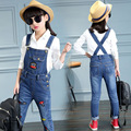 2017 Spring Fashion Baby Girl Jean Overalls Cartoon Embroidery Kid Denim Braces Trousers Children High Quality Suspender Pants