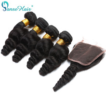 Panse Hair Indian Loose Wave 3 Bundles Menneskehår Med Lace Closure 4 * 4 Tilpasset 8 til 30 tommer hårvævning