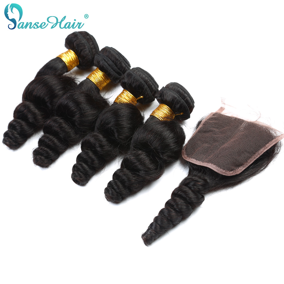 Panse Hair Indian Loose Wave 3 Bundles Human Hair With Lace Closure 4*4 Customized 8 To 30 Inches Hair Weaving