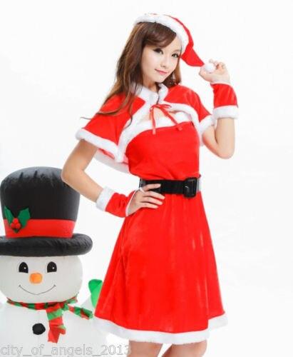 hot womens christmas santa outfit dress cape hat set fancy dress costume set 5pcs cute santa
