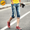 Fashion Summer Style Teenagers Hole Ripped Capri Pants Men Washing Slim Fit Flanging light Blue Denim Ctopped Trousers 28-34