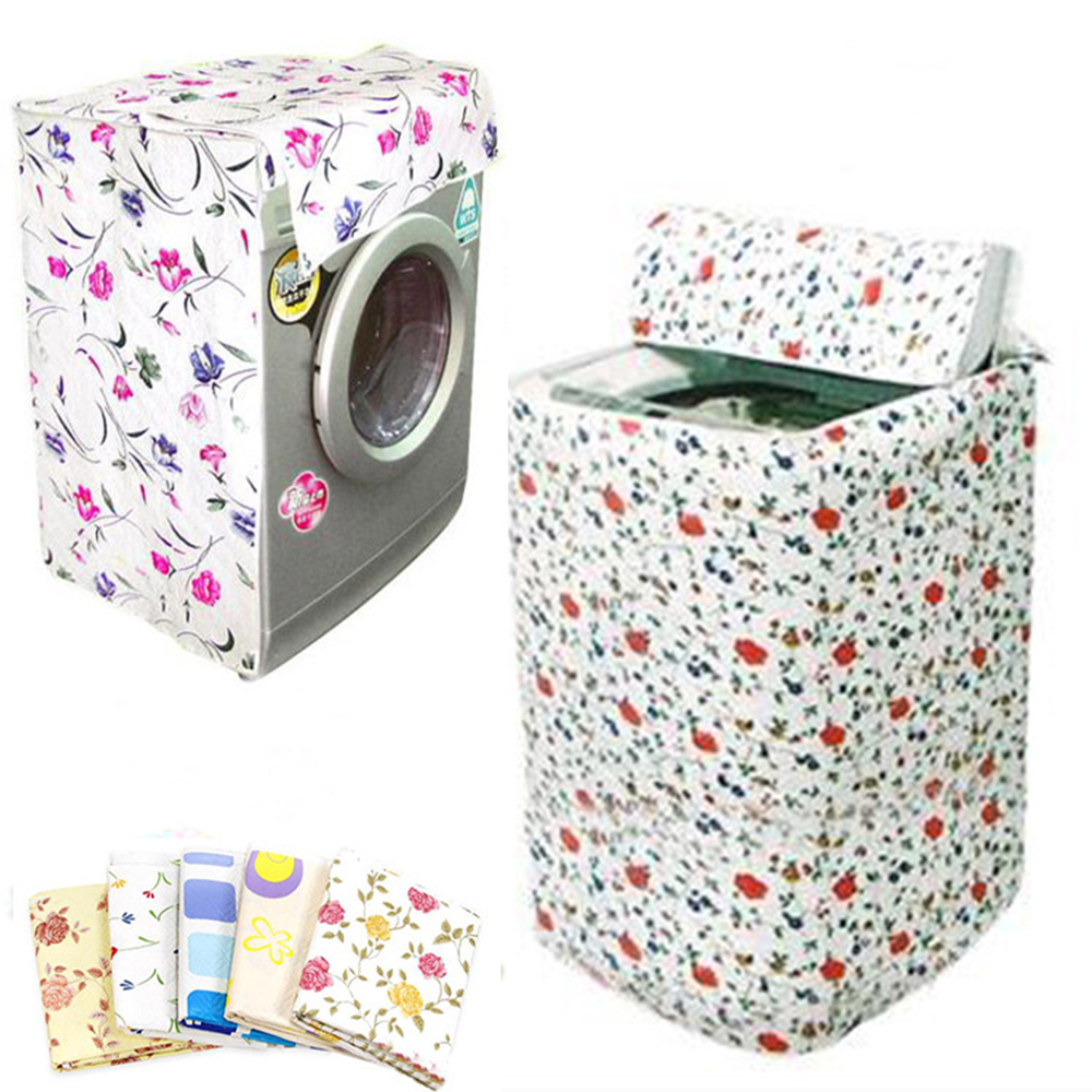 Front Loading Washing Machine PVC Dustproof Cover Household Practical Floral Waterproof Washing Machine Dust Cover Case
