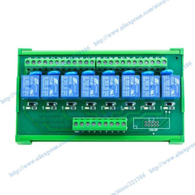 8 channels 24V 10A DIN rail mount Relay Module driver board output amplifier board PLC board  relay SRD-24VDC-SL-C PNP