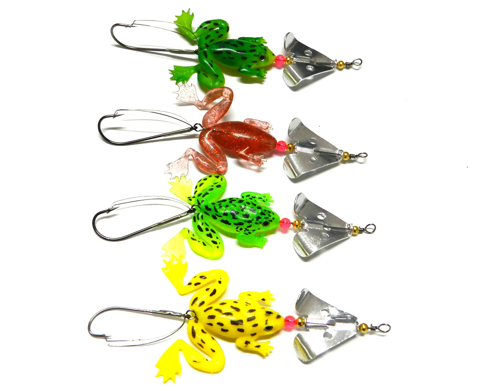 200pcs HENGJIA Brand 6 2G spinner spoon soft frog fishing Buzz baits lures plastic Fishing tackle