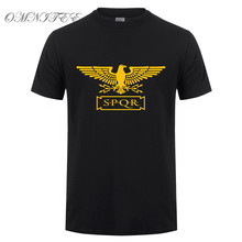 Omnitee New Summer Fashion Roman Empire T Shirts Men SPQR T Shirt Tops Cotton Short Sleeve Eagle banner T-shirt Tee OT-549