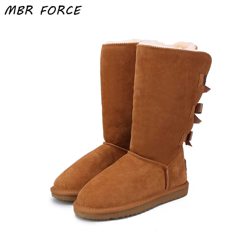 MBR FORCE 2018 Fashion Women Long Boots Genuine cow Leather Snow Boots Bowknot  Snow Boots Warm High Winter Boots US 3-13