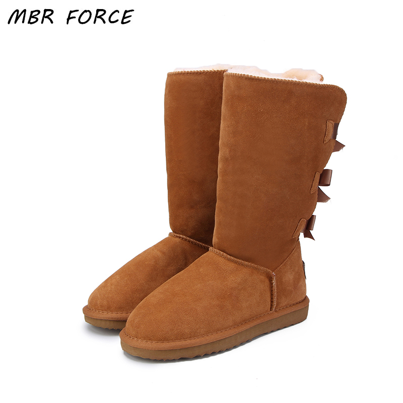 MBR FORCE 2018 Fashion Women Long Boots Genuine cow Leather Snow Boots Bowknot UG Snow Boots Warm High Winter Boots US 3-13 goncale high quality band snow boots women fashion genuine leather women s winter boot with black red brown ug womens boots
