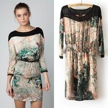 Spring New Design Europe Windy Retro Landscapes Painting Printed Dress Back Split Designer Tunic Dress 0087