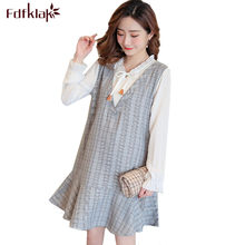 Fdfklak Fashion Plaid Maternity Dress Long Sleeve Pregnant Dress Women Fake Two Pieces Maternity Dresses Pregnancy Clothes(China)