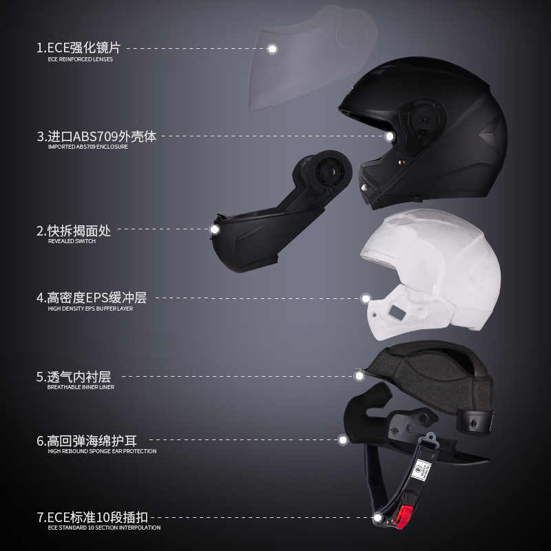 ביי קסדת אופנוע Motobike קסדה מלא פנים רכיבה Biker מודולרי אופנוע מוטוקרוס Flip Up קסדות Capacete Casco דוט