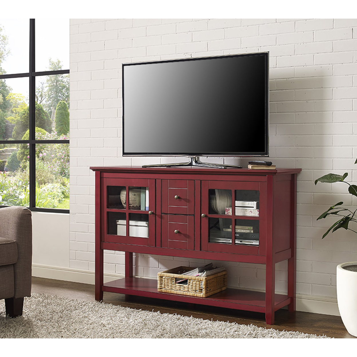 ... WE Furniture 52 Wood Console Table TV Stand   Antique Red (3)