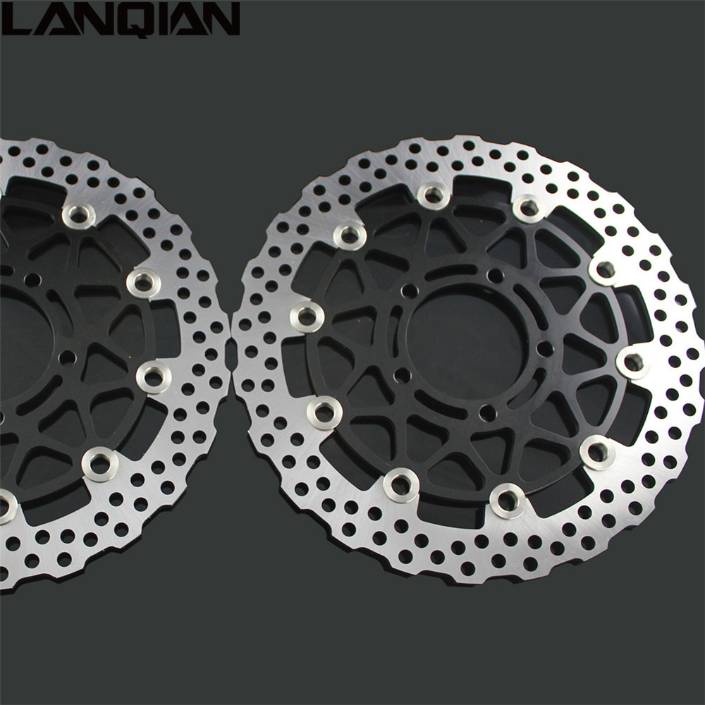 2PCS Motorcycle Front Floating Brake Disc Rotor For KAWASAKI ZX14R ZZR1400 GTR1400 2006 2007 2008 2009 2010 2011 2012 2013 2014 aftermarket free shipping motorcycle parts for motorcycle 2006 2007 2008 2009 kawasaki zx14 zx14r zx 14r axle caps covers chrome