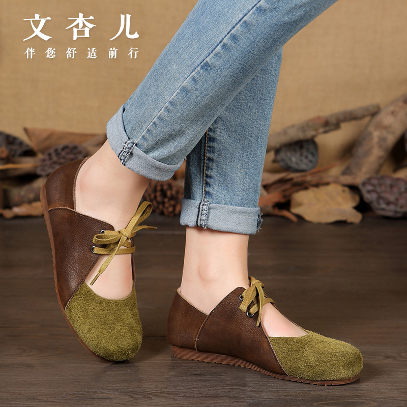 Whensinger - Women Flat Shoes loafers Genuine Leather Casual soft green Tie Flats Shoe Comfortable Driving shoes Ventilation 2016 trend crocodile grain mens loafers genuine leather comfortable rubber soft bottom casual driving men shoe basic flats z616