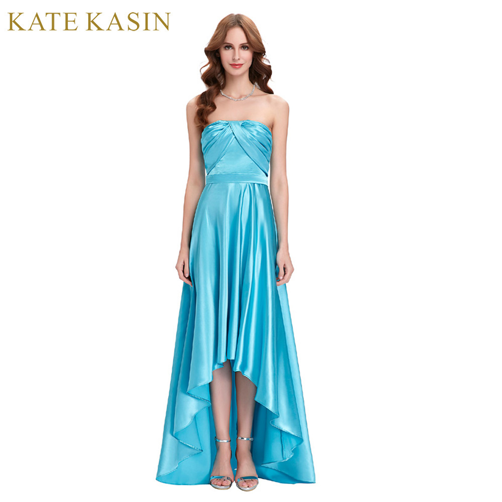 Kate Kasin High Low Evening Dresses Long Satin Strapless Party Ball ...