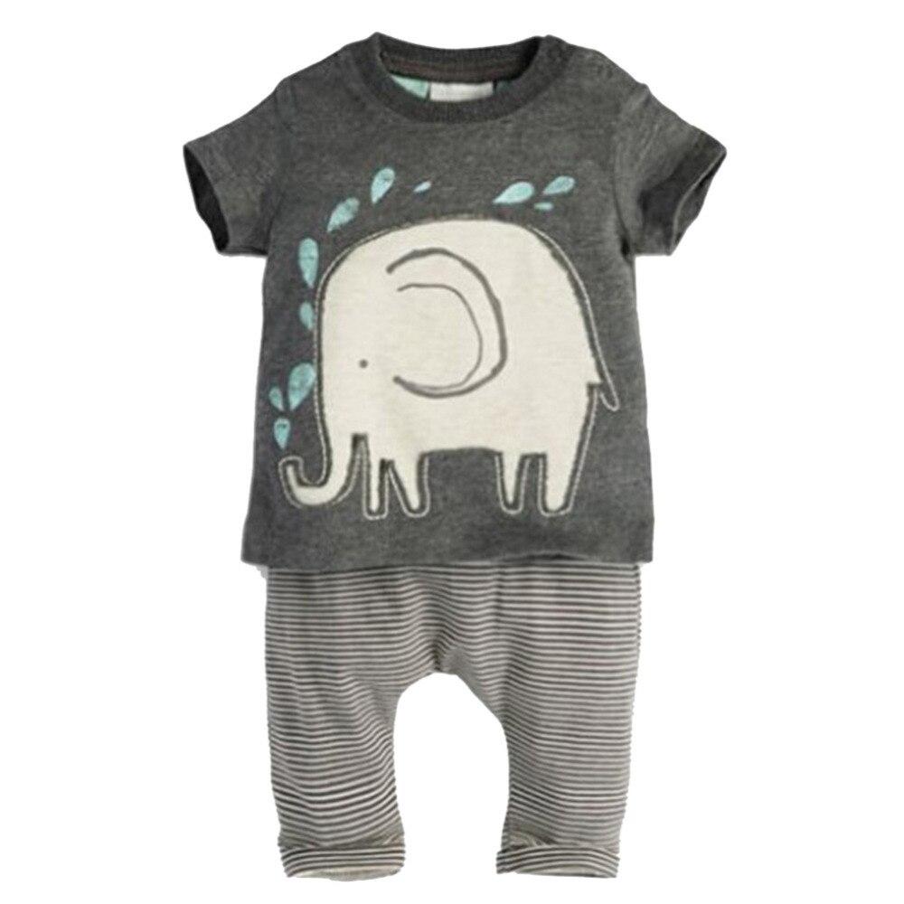 2 шт. одежда для малышей комплект одежды для мальчиков хлопка с коротким рукавом с принтом слона Топы + длинные штаны в полоску наряды