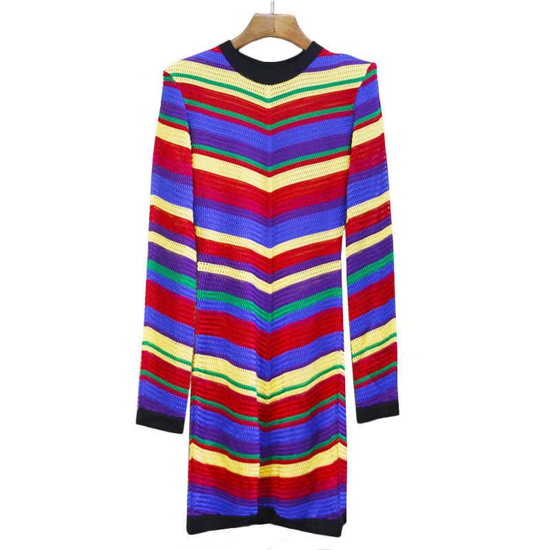 YÜKSEK KALITE Yeni Moda 2019 BAROK Tasarımcı Pist Elbise kadın Büyüleyici Renk Çizgili Hollow Out Örgü Elbise