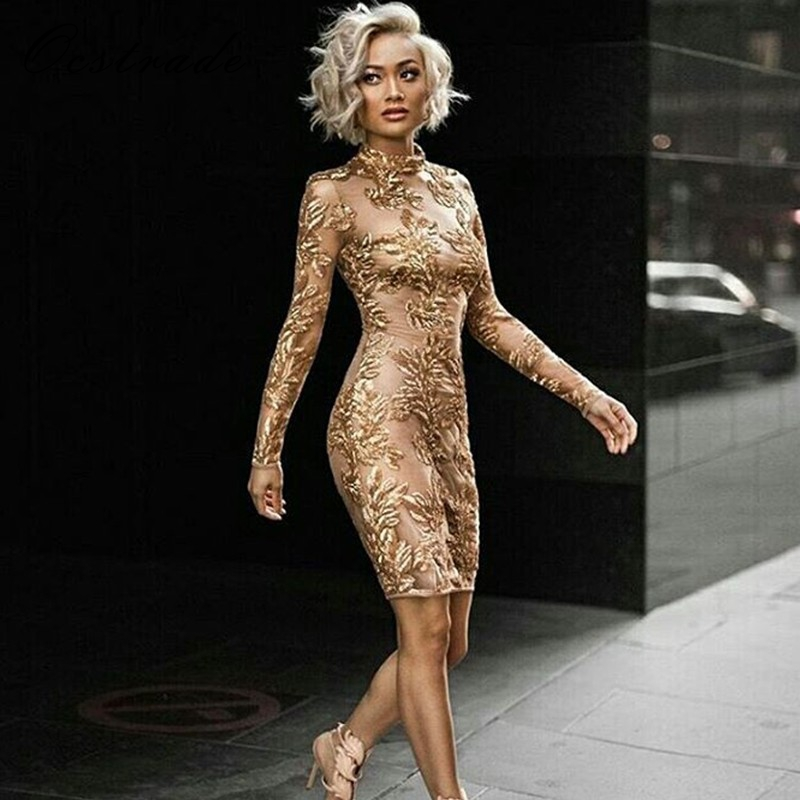 Ocstrade 2017 pista das mulheres de ouro da moda de gola alta manga comprida mini sequined lace partido bodycon dress