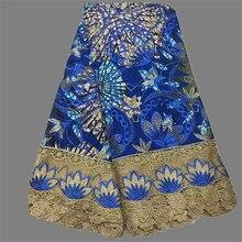 Modische königsblau Afrikanische super batik wachs stoff mit blumen schnur spitze für abendkleid (6 yards/lot) WLF70
