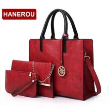 2018 New Women Bags Set 3 Pcs Leather Handbag Women Large Tote Bags Ladies Shoulder Bag Handbag+Messenger Bag+Purse Sac a Main
