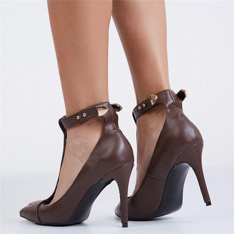 Décor Stiletto Habillées Cheville Boucle Sangle T As Femmes strap Métal Chaussures Sexy Hauts Pic as Lady Bout Pointu Piste 2019 Pompes Pic Talons OTxCIUq7Zw