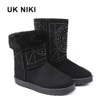 UKNIKI Flat Shoes Snow Boots Women Winter Boots Female Mid Calf Boots