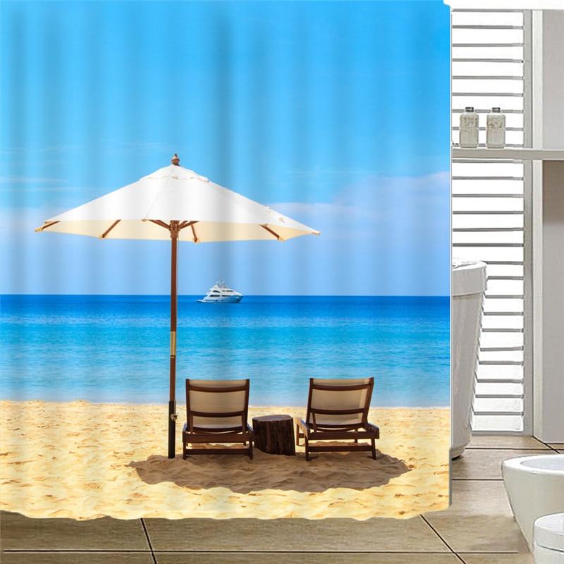Beach Umbrella shower curtain fabric 2018 new arrival hot sale cortina bano white bathroom curtain drop shipping AP17