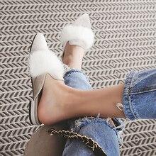 SUOJIALUN Femmes Pantoufles De Fourrure Diapositives Pointu Moitié Supérieure Pantoufles Dame À L'extérieur Rue Style Sandales Chaussures Shiping Libre