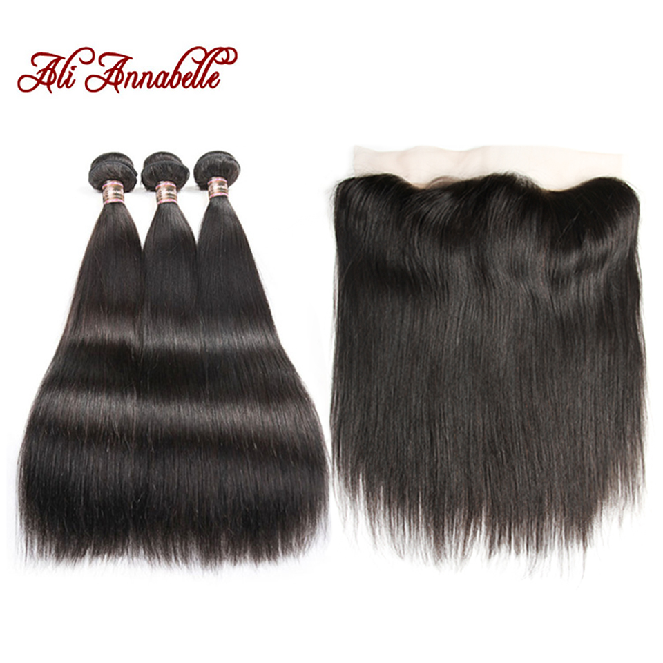 ALI ANNABELLE HAIR Straight Brazilian Human Hair Bundles With Lace Frontal Free Middle Part Remy 3 Bundles with Lace Closure
