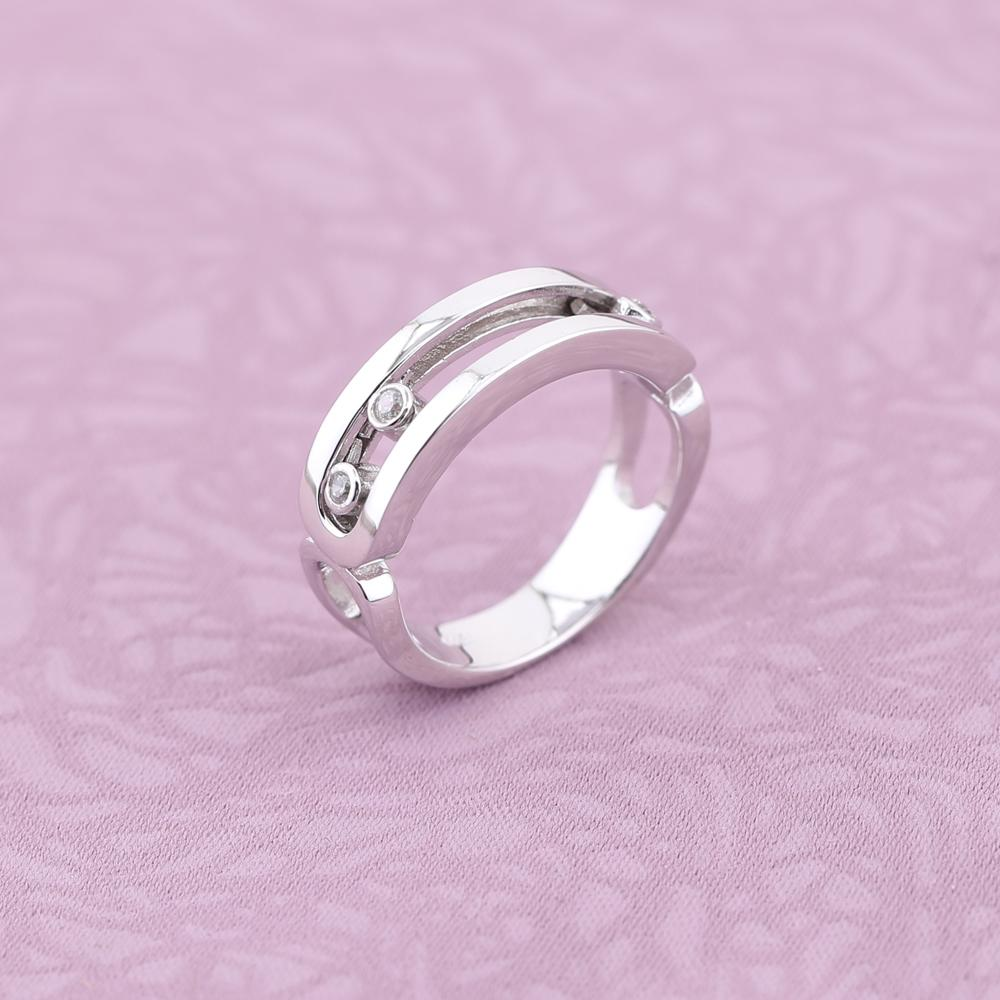 Slovecabin France Popular Pure 925 Sterling Silver Move Wedding Ring For Women Three Move Stone Wedding Ring Best Gift Bague in Wedding Bands from Jewelry Accessories