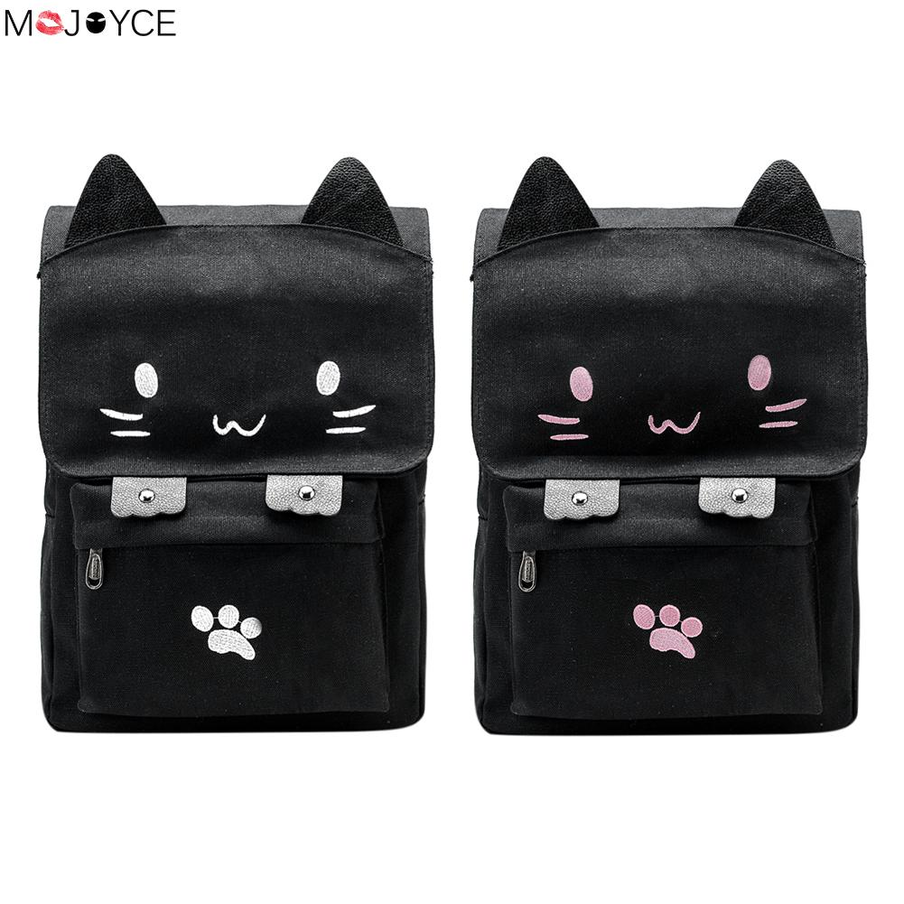 Cute Cat Canvas Backpack Cartoon Embroidery Backpacks For Teenage Girls School Bag Casual Black Printing Rucksack Mochilas zooler women s backpack eyes sequined designer black cartoon eyes backpacks travel bag cute shell backpacks for teenager girls