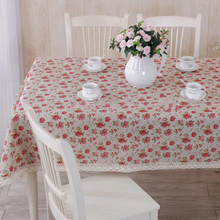 Simanfei 2017 New Crochet Lace Rose Printed Table cloth Cover Pastoralism Style Sweet Party Wedding Tablecloth