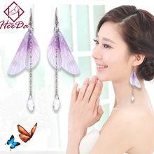 f009dbc67dc4 Elegante moda mujeres largo Pendientes hecho a mano dulce mariposa cristal  ala colgante eardrop personalidad estética oído Acces.