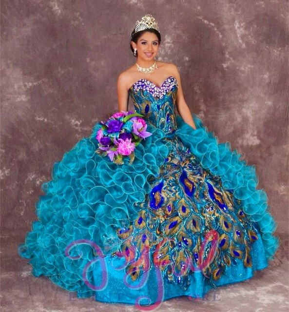 Delicate Peacock Appliques Quinceanera Dresses Crystal Neckline Sweet 16  Dress Blue Split Front Masquerade Party Ball Gown df6362229107