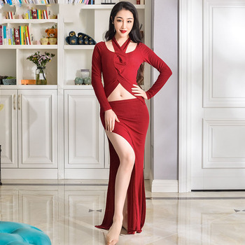 New Belly Dance Costume Women Performance/Practice Clothes Oriental Dance Robe Professional Belly Dance Costume 2 Piece DQL960