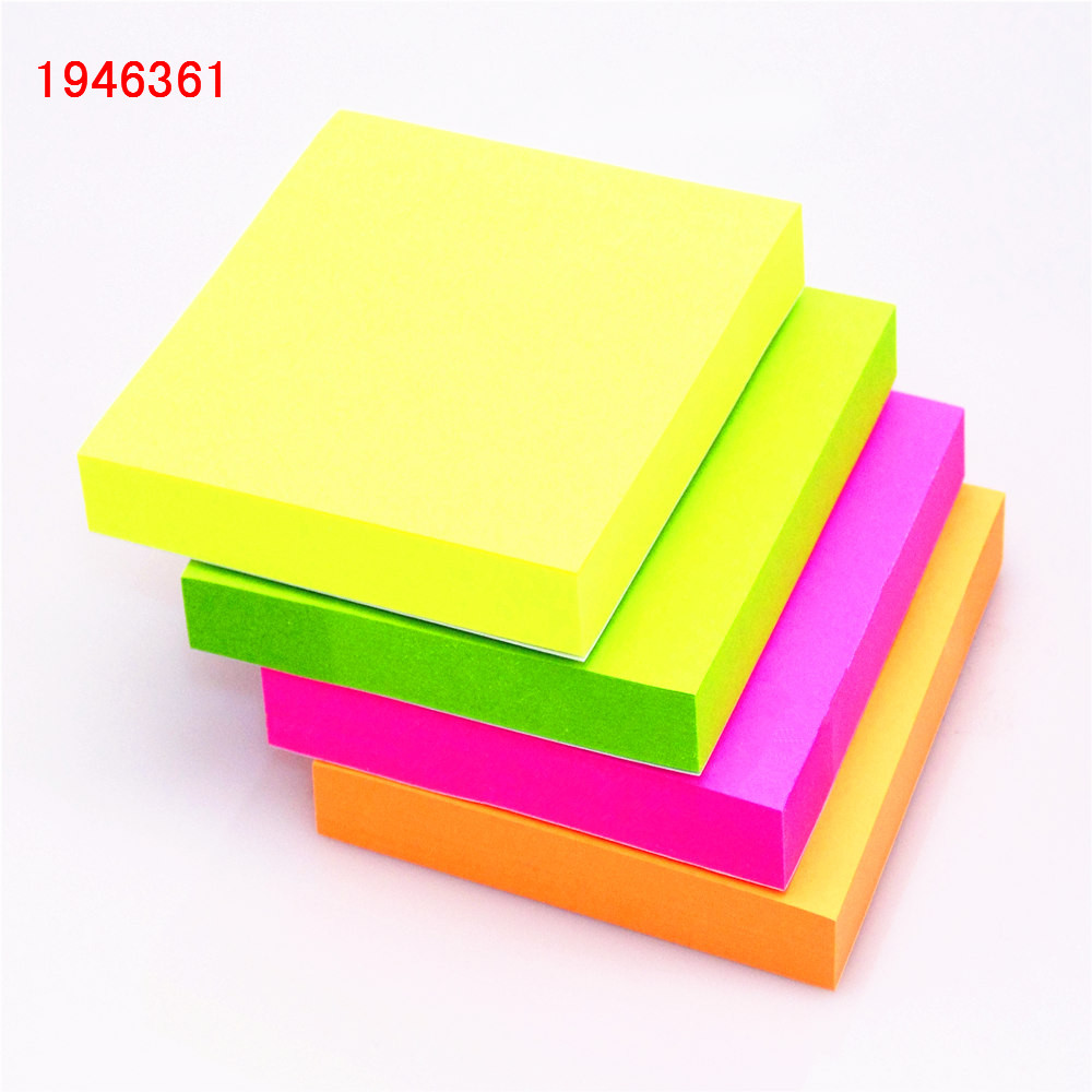 100 sheets 1colour 76*76mm Size color paper Memo Pad Sticky Notes Bookmark Point It Marker Memo Sticker Office School Supplies number